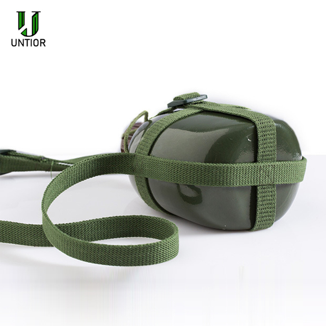 UNTIOR Aluminum Military Army Flask Wine Water Bottle Cooking Cup With Shoulder Strap Hiking Kettle Outdoor Tools 1L/2L 4
