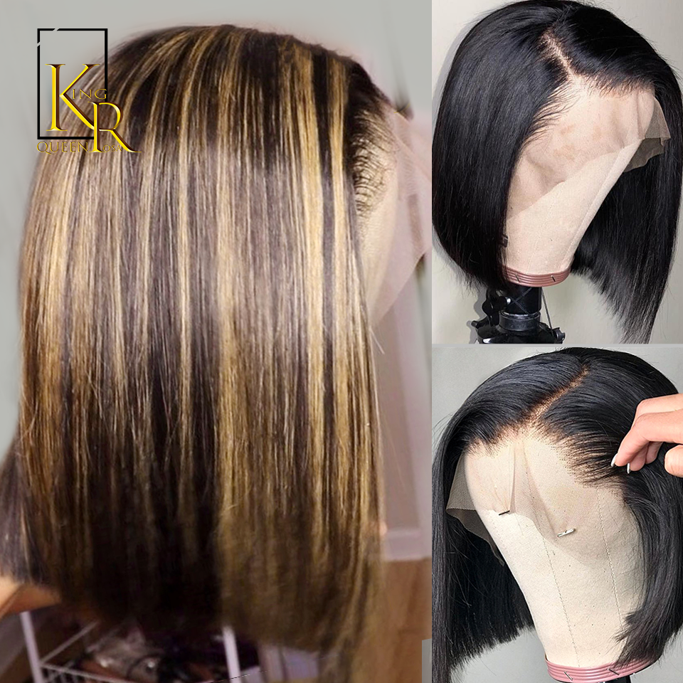 Ombre Blonde Highlight 13*4 Remy Brazilian Straight BOB Wig Lace Front Human Hair Wigs For Women Pre Plucked King Rosa Queen