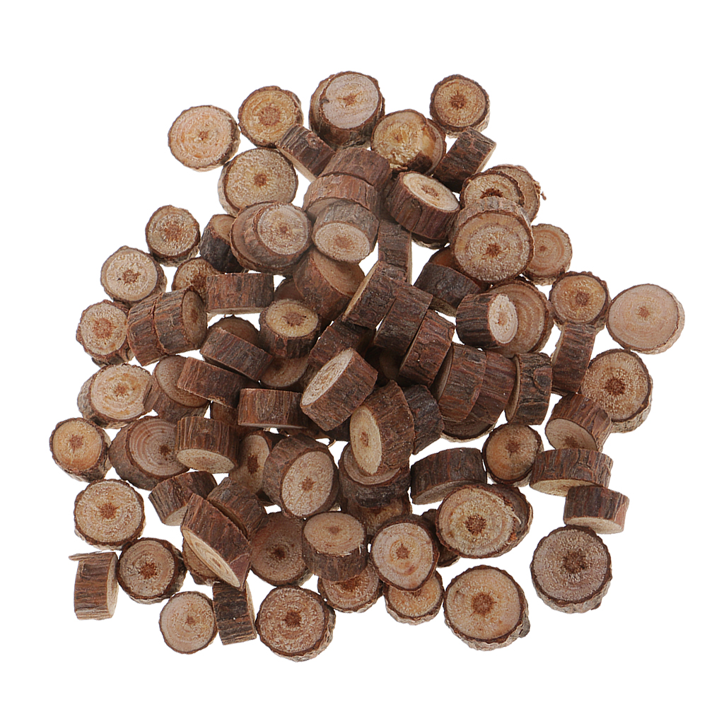 100 Pieces Wood Slices, Natural Unfinished Round Discs Ornaments Tree Bark Wooden Circles Log Discs For Crafts
