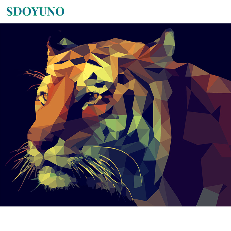 SDOYUNO 60X75cm Oil Painting By Numbers Tiger Room Decoration DIY Pictures By Numbers Frameless Digital Canvas Painting