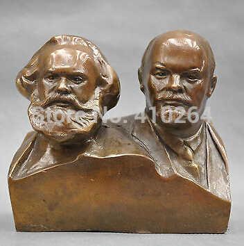 6 ''grande Comunista Marx E Lenin Busto Statua di Bronzo