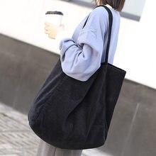 Женская винтажная Вельветовая сумка на плечо, Большая вместительная сумка-тоут, складные многоразовые сумки для покупок, модные тканевые с...