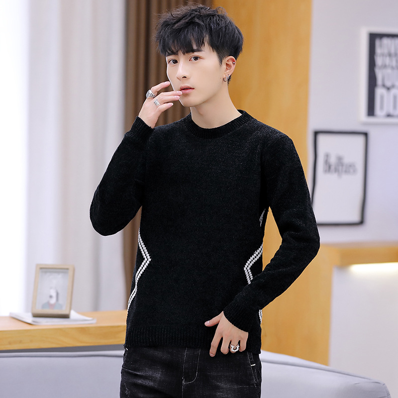 Mens Sweaters Round Neck Pullover LONG SLEEVE WINTER Black Men Sweater Green Slim Sweater Men O-Neck Pullovers Casual