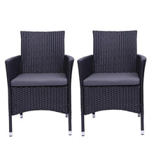 Outdoor 2pcs Single Backrest Chairs Rattan Sofa Set Black