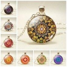 Sri Yantra Mandala Flower Art Glass Cabochon Pendant Necklace Buddha Sacred Geometry Silver Chain Spiritual Jewelry