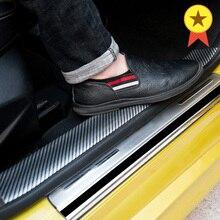 Car Styling 5D Carbon Fiber Rubber Stickers Door Sill Protector For Audi Ford Toyota BMW Mazda KIA Hyundai Honda GMC Accessories 1m carbon fiber rubber styling door sill protector bumper strip diy door sill protector for kia for toyota for bmw accessories