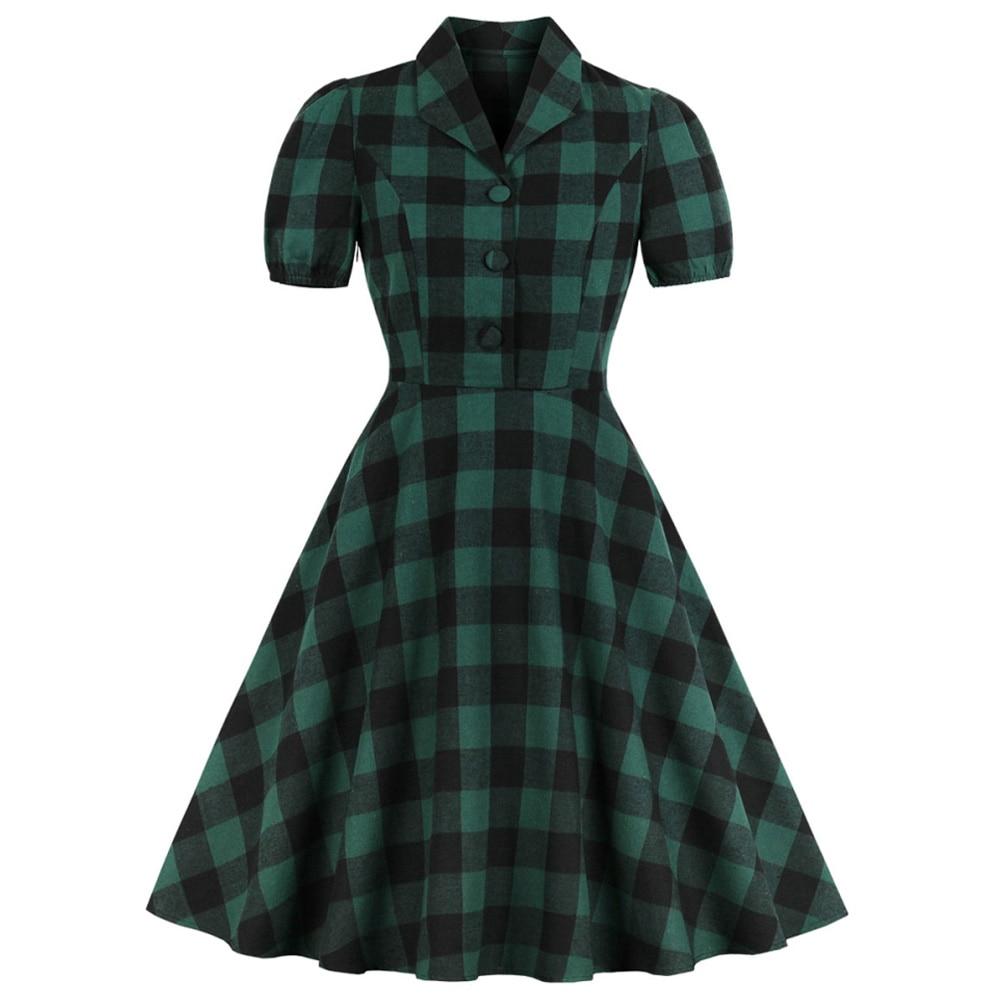 Зеленое клетчатое женское клетчатое винтажное платье рокабилли летнее с коротким рукавом на пуговицах с карманом платье с высокой талией