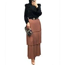 Skirt Pleated Muslim-Bottoms Modest Fashion Islamic Long Ramadan Tulle Bodycon Midi Party