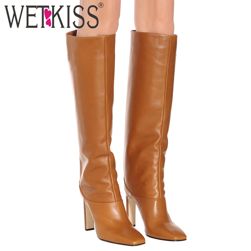 WETKISS Knee High Boots Women High Heels Thick Boot Square Toe Party Shoes Female Fashion Shoes Ladies Spring Plus Size 35-48