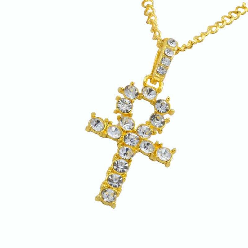 Gorący Hip Hop stop krzyż wisiorek naszyjnik Shellhard złoty kolor srebrny kryształ długi łańcuch naszyjnik mężczyzna kobiet urok biżuterii
