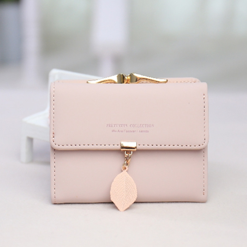 Hot sale Women's wallet Korean version of the small fresh leaves pendant tri-fold small wallet student coin purse clutch bag