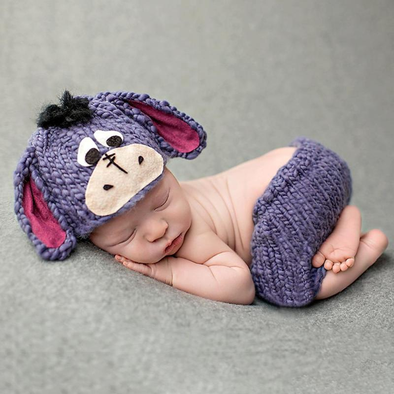 Newborn Baby Donkey Pattern Photography Clothing Knitted Beanie Pants Suit
