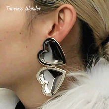 Timeless Wonder Stunning Big Heart Statement Drop Earrings Women Jewelry Punk Gothic Runway Boho Aretes Ins Versatile 3625