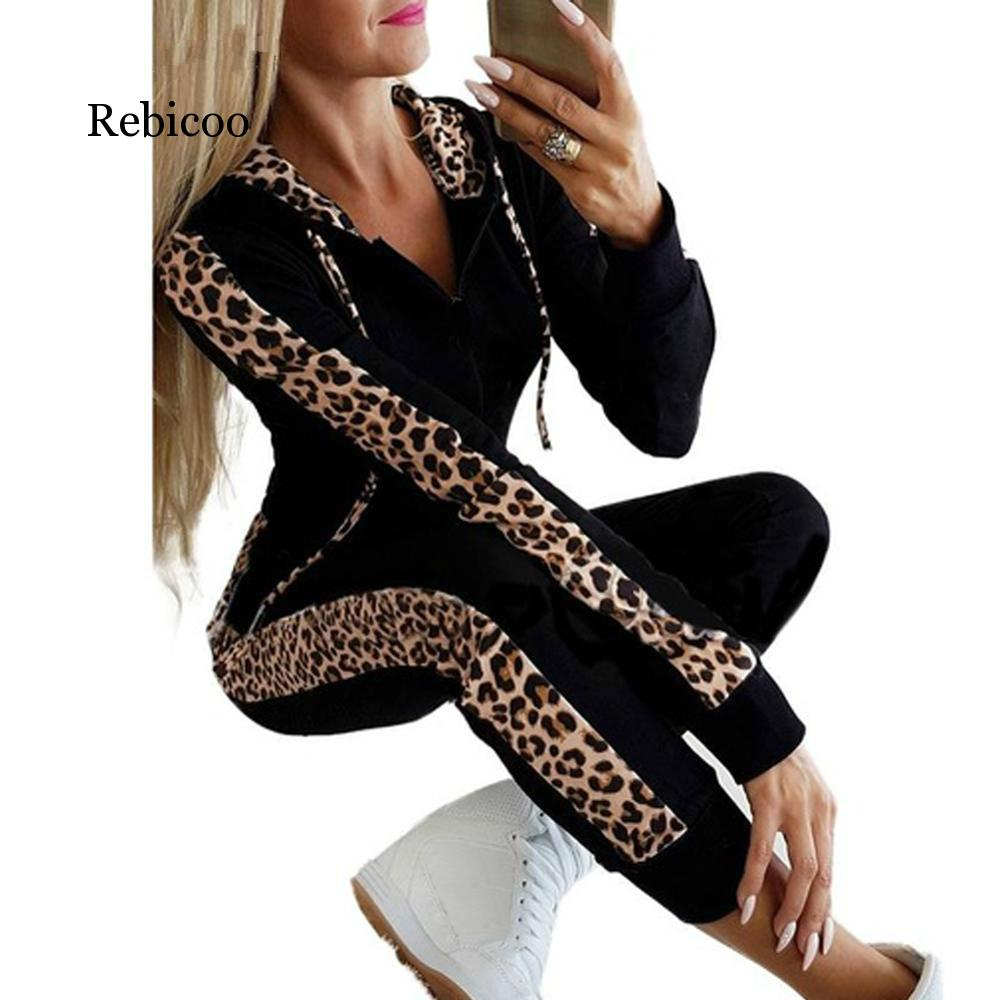 2019 Hot Sale Explosions Leopard Long Sleeve Pocket Plus Velvet Printed Zipper Hoodie Trousers Autumn And Winter Women's Suit