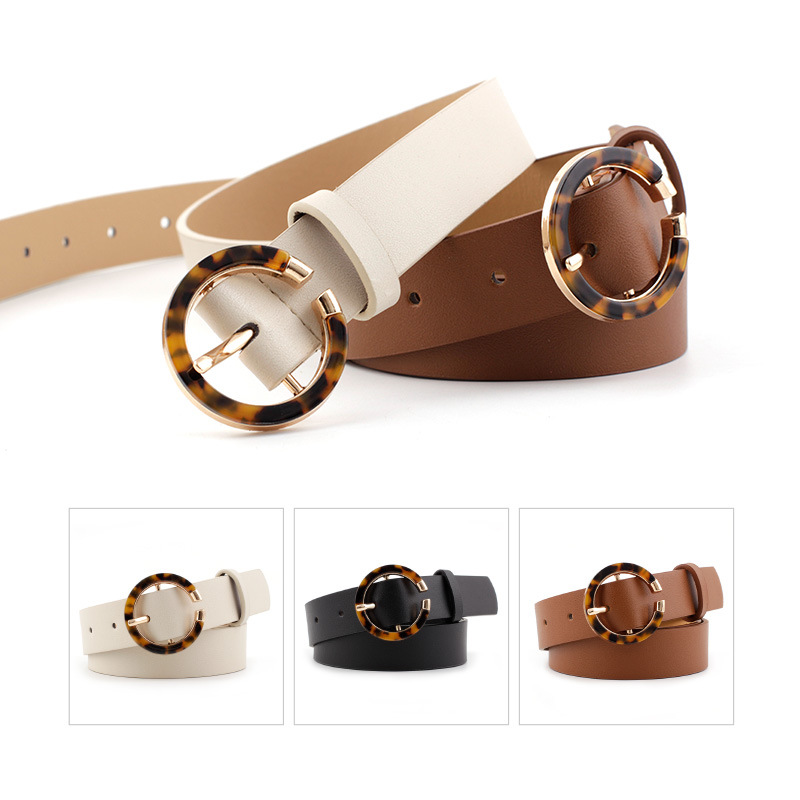 Circle Pin Buckles Belt Female Deduction Side Leopard Print Buckle Jeans Wild Belts For Women Fashion Students Simple New