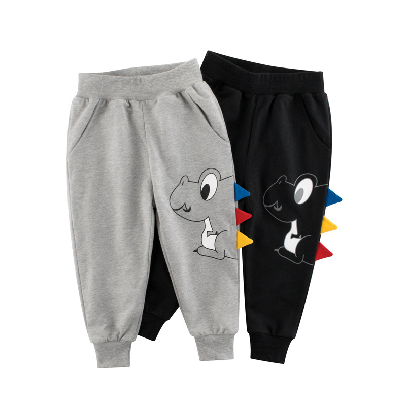 Boys Sport Pants For 2-7 Yeas Solid Baby Girls Casual Child Jogging Infant Toddler Print Cartoon Dinosaur Kids Children Trousers 1
