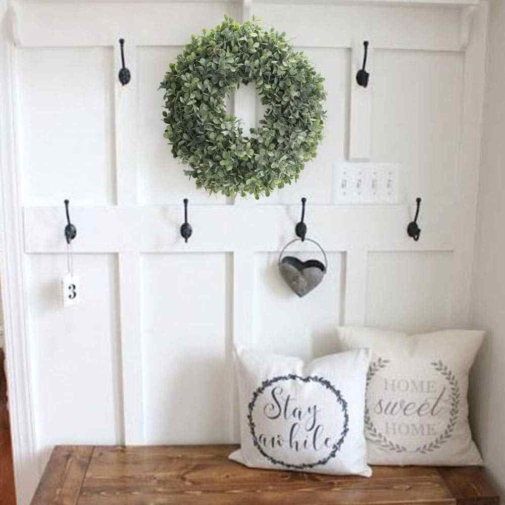 Венок из искусственных зеленых листьев-17,5 дюймов, венок для передней двери, венок из травы, самшит, венок для стен, окон, вечерние, Декор