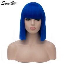 Similler женские короткие парики, синтетические волосы, прямой парик боб для косплея, термостойкий синий черный красный темно зеленый фиолетов...