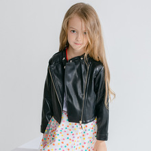 Girls PU jacket Spring Autumn childrens leather 2-6Y fashion black color zipper girls coat jackets
