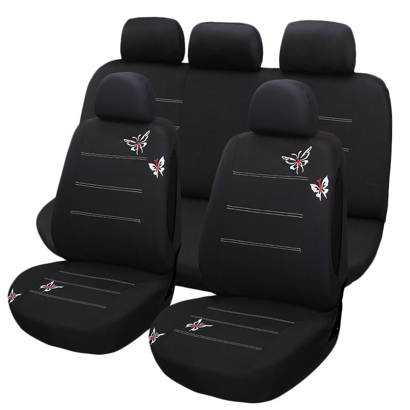 9Pcs New Butterfly Embroidery Car Seat Cover Universal Fit Most Vehicles Seats Interior Accessories Seat Supports    - title=