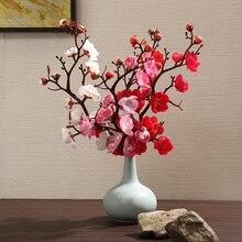 Pflaume Kirschblüten Künstliche Seide blumen Kunststoff Zweig für Party Hochzeit DIY Hause Tisch wohnzimmer Decor Gefälschte Blumen