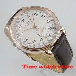 2019 nowy 42mm Parnis GMT złoty zegarek mechaniczny mężczyźni automatyczna stal wodoodporna czarna skóra biała tarcza data moc świecenia 593|Zegarki mechaniczne|Zegarki -