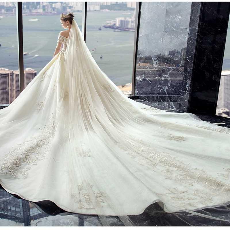 Alilove חתונה שמלת 2019 סקסי פשוט אלגנטי יוקרה האחרון אשליה אופנתי Off-כתף חתונה בתוספת גודל Dresse