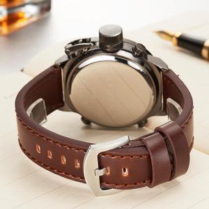 Image 5 - MEGALITH שעון גברים צבאי ספורט עמיד למים שעוני יד LED הדיגיטלי משולב שעון זכר שעון חום אמיתי עור שעון