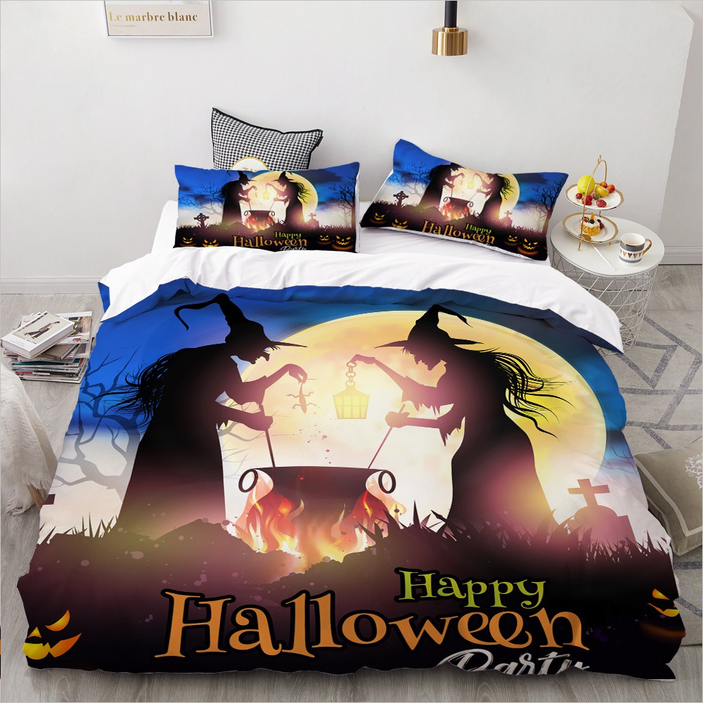 Cartoon Bedding Set For Kids/baby/children/boys,Duvet Cover Set Queen/King,Quilt/Blanket Cover Set Halloween Pumpkin Old Witchs