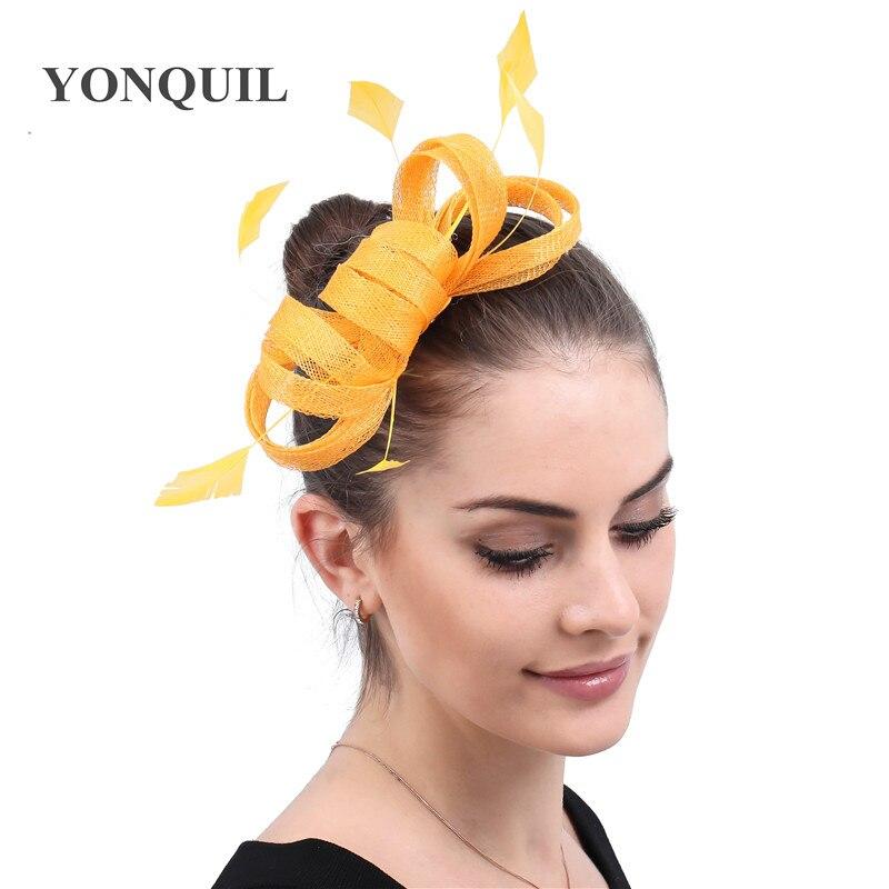 Yellow Chic Wedding Fasscinator Bride Headwear Sinamay Women Wedding Headwear For Lady Chuch Cocktail Race Chic Hair Accessories