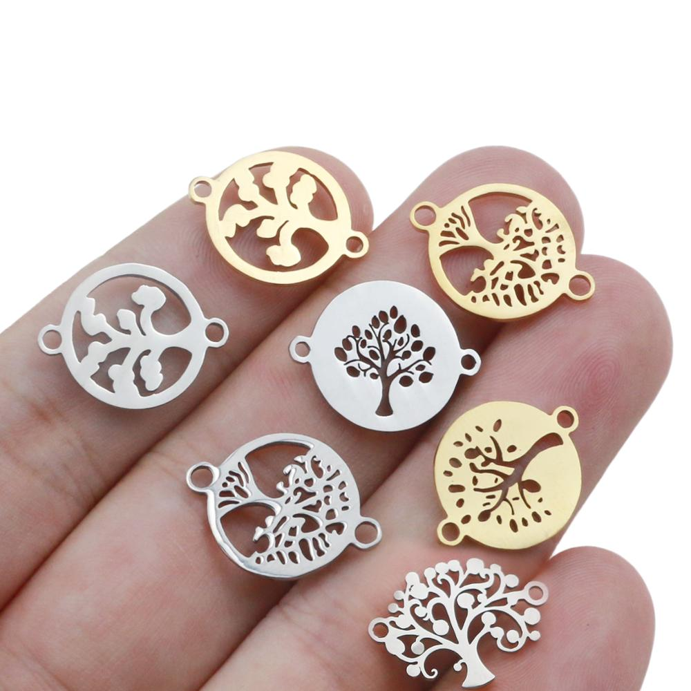 10pcs/lot 15mm Stainless Steel  Life Tree Charms Fit Bracelet Connector Charm Bracelet Necklace For DIY Handmade Jewelry Making