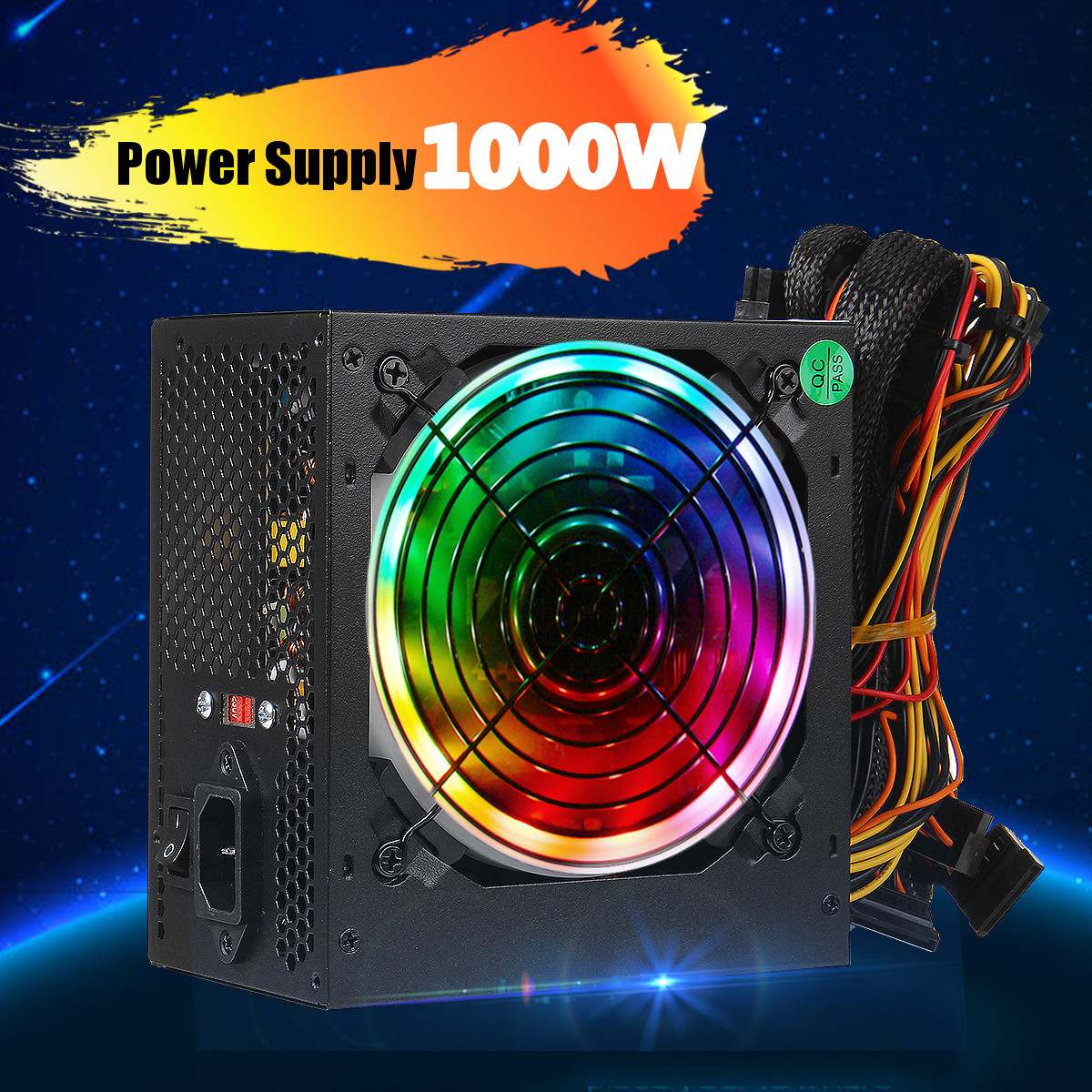 1000W 115~230V Power Supply PSU PFC 12cm LED Silent Fan ATX 24pin 12V PC Computer SATA Gaming Supply For Intel AMD Desktop