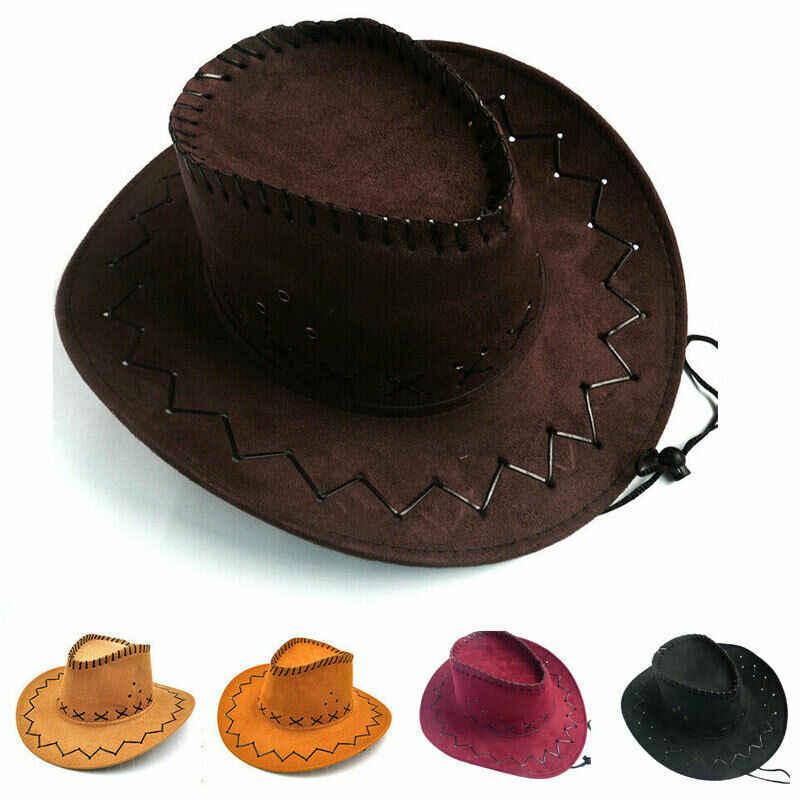 2019 新レディースメンズユニセックスキッズ帽子野生西ファンシーカウガールカウボーイ帽子ファッション西洋帽子キャップ固体パナマ Sunhat 圧着キャップ