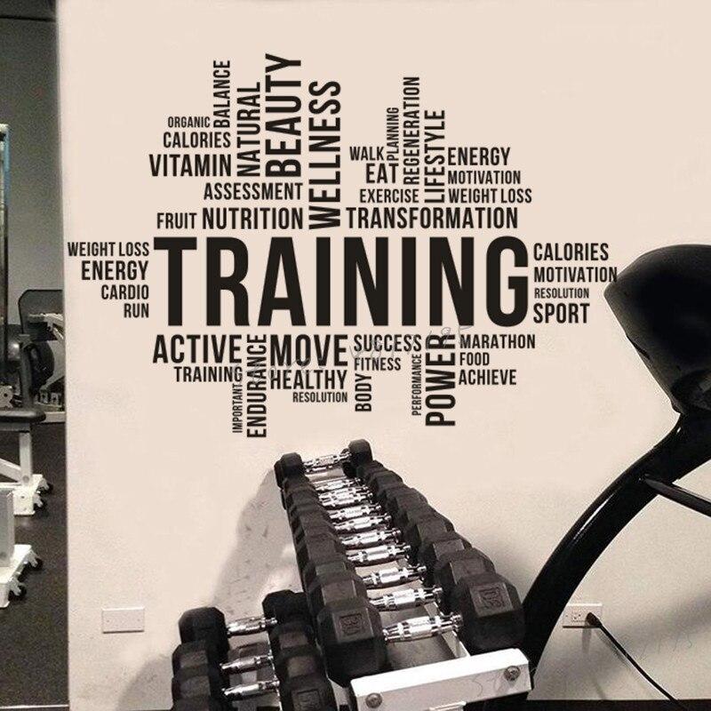 Etiqueta de la pared de la nube de la palabra del entrenamiento de la aptitud pegatina de la pared de la nube de la palabra deportes entrenamiento decoración del Club