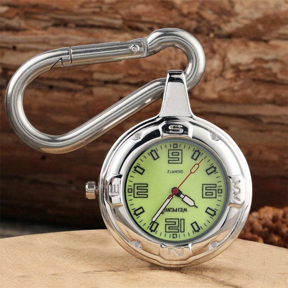 Outdoor Arabic Numerals Luminous Green Dial Quartz Pocket Watch Silver Hanging Buckle Pendant Watch Gifts For Men Women