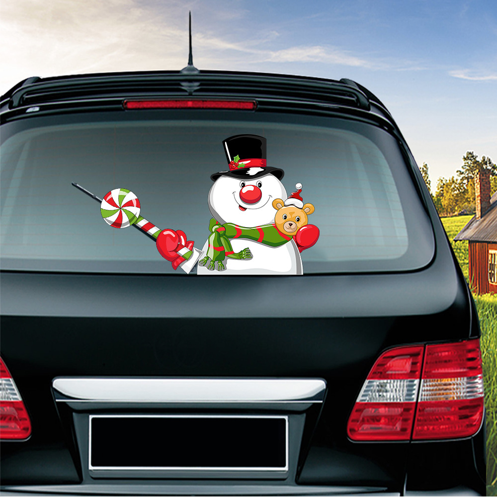 Xmas  Rear Windshield Santa Claus Window Decals Car Wiper Sticker Christmas 2019 Cute Window Decals Decoration Stickers Car Stickers     - title=