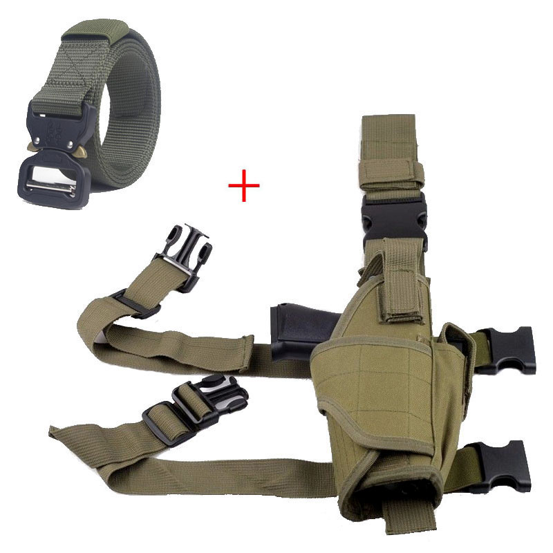 Adjustable Hunting Accessories Tactical Pistol Gun Carry Case Leg Holster Nylon Pouch Airsoft Belt Holster For Universal Gun image