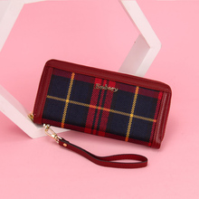 New Fashion Big Plaid Women Wallet Zipper Wristband Long Genuine Leather Clutch Wallets For Women Card Holder Purse Phone Wallet