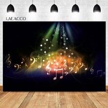 Laeacco música tema festa fotophone notas pontos de luz fotografia aniversário backdrops fotográficos para estúdio foto