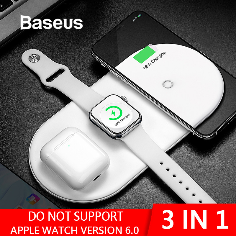 Baseus Wireless Charger For iPhone X XS MAX XR 8 Fast Wireless Full load 3 in 1 Charging Pad for Airpods 2019 Apple Watch 4 3 2-in Mobile Phone Chargers from Cellphones & Telecommunications
