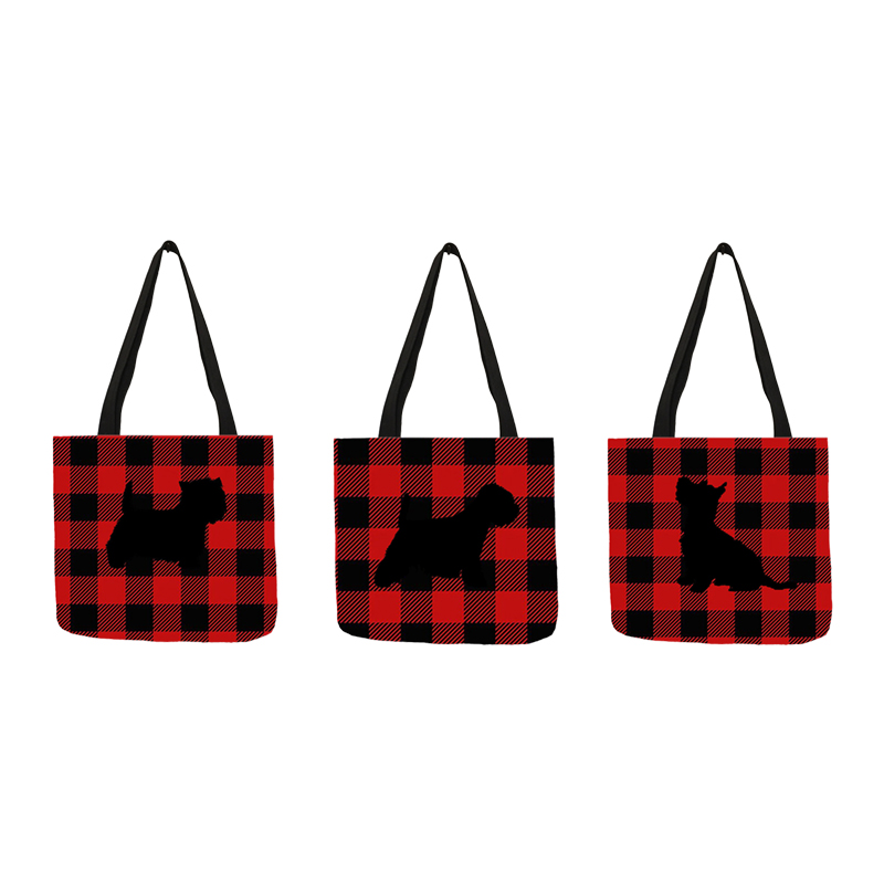 Westie Dog Silhouette Printing Casual Tote Bag For Women Plaid Design Hand Shoulder Bag  Portable Travel Shopping Bags