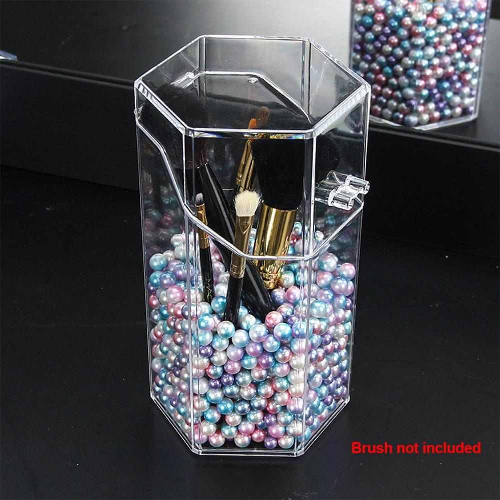 Acrylic Makeup Brush Holder Pearl Storage Box With Cover Plastic Makeup Organizer Cosmetic Tool Holder Without Brush