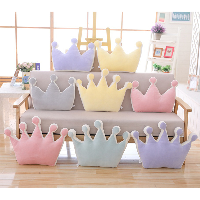 Baby Crown Pillow 100% Cotton Cushion Kids Troddler Creative Decoration Plus Infant Bedding Pillows Baby Sofa Bed Pillow Gift