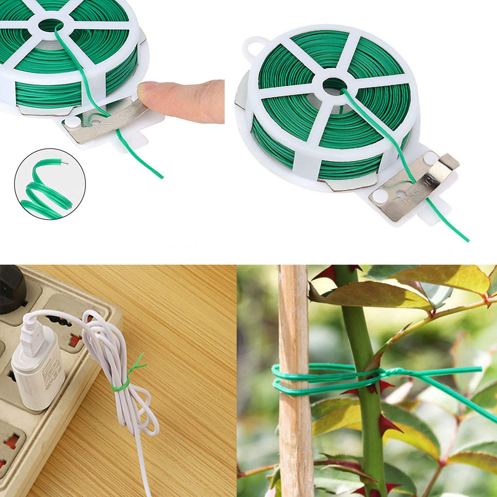 Garden Twist Tie Wire Cable Reel Feet Multi-Function Sturdy Garden Plant Twist Tie for Gardening Home Office Cable Tie 2Pcs Green