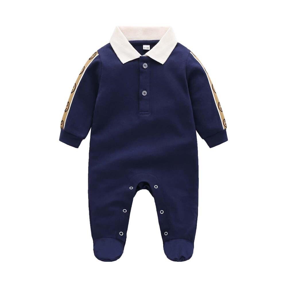 Новый весенне-осенний модный брендовый Стиль Одежда для новорожденных темно-синий вязаный хлопковый комбинезон с длинным рукавом для мальчиков и девочек от 0 до 24 месяцев 1