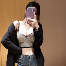2020 new diamond heavy ultrashort vest inside and outside pure color ma3 jia3 sexy star top quality small condole belt