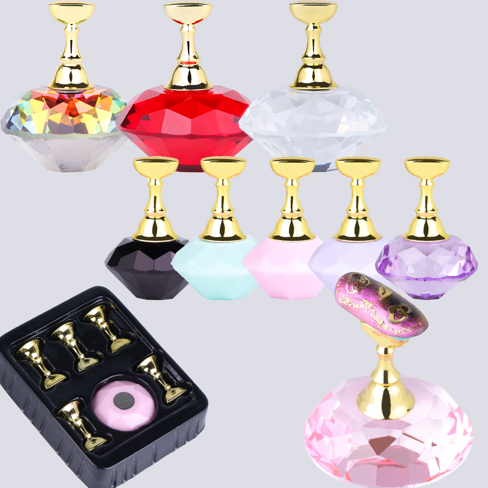 1 Set Colorful Magnetic Nail Practice Display Acrylic Crystal Holder False Nail Art Tips Diamond Design DIY Manicure Tool SA741