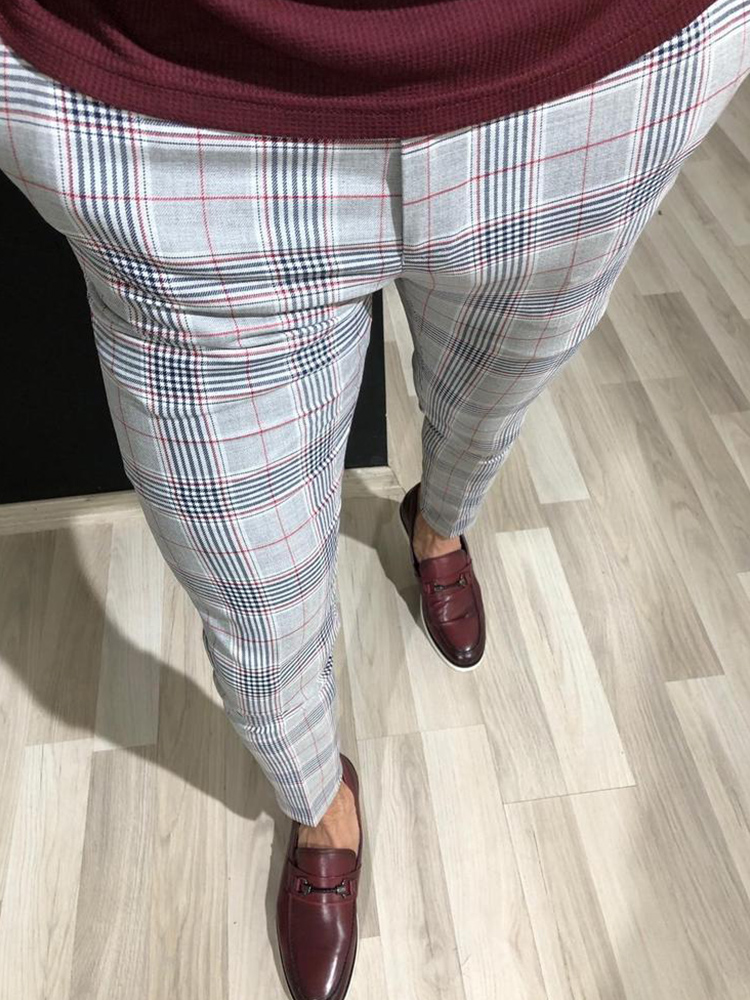 New Men Vintage Plaid Suit Pants Formal Dress Business Casual Slim Fit Pants Wedding Party Formal Classic Check Suit Trousers