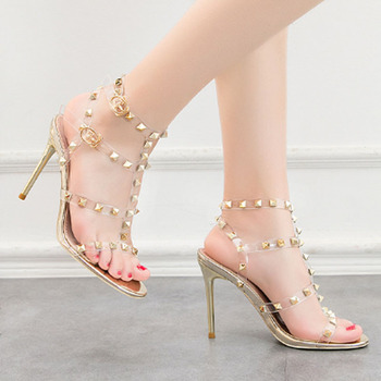 New sexy high heels for women patent-leather metal rivet sandals sexy nightclub sandals transparent Roman shoes