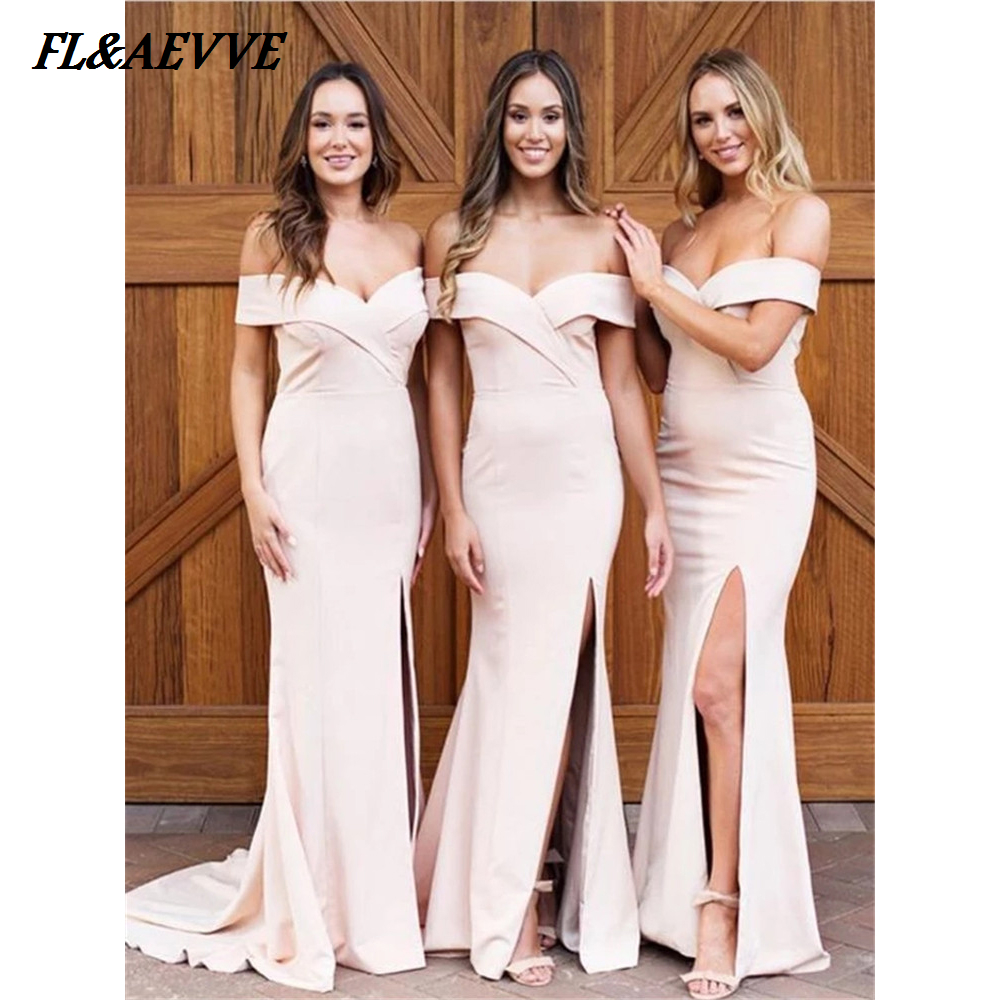 In Stock Mermaid Bridesmaid Dresses Sexy Off the Shoulder Bridesmaid Dress Split for Wedding Party Teens